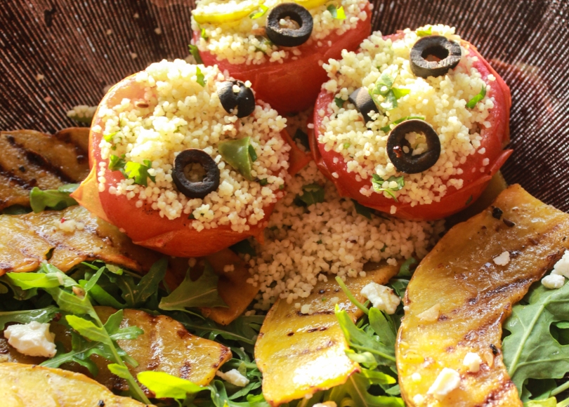 photo of Grilled pumpkin salad with couscous stuffed tomatoes