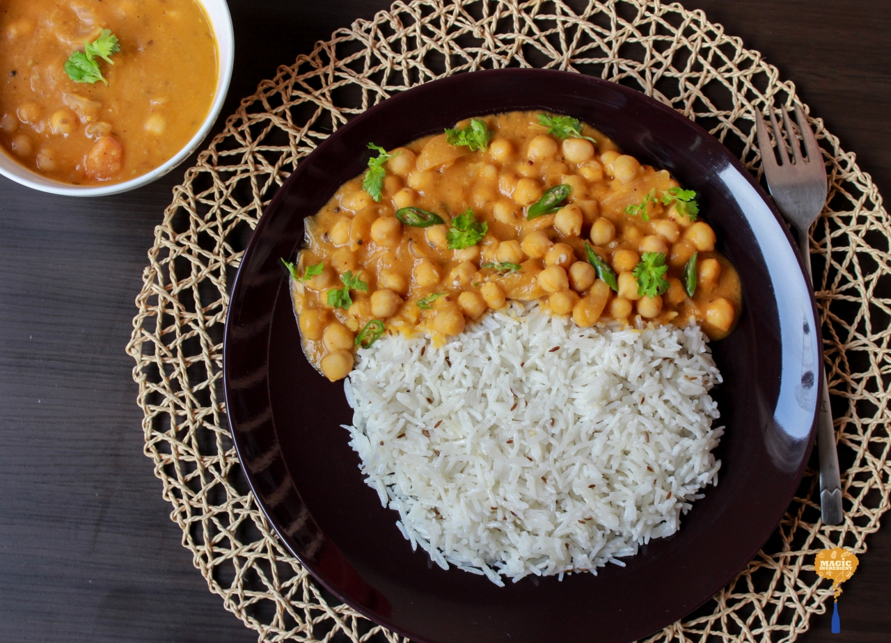 photo of dhansak with chickpeas