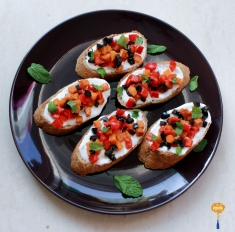 photo of Roasted pumpkin and bell pepper bruschetta