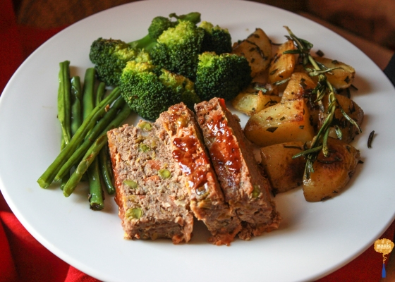photo of Barbeque Lamb Meatloaf with vegetables