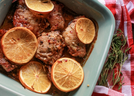photo of crispy baked orange and rosemary chicken