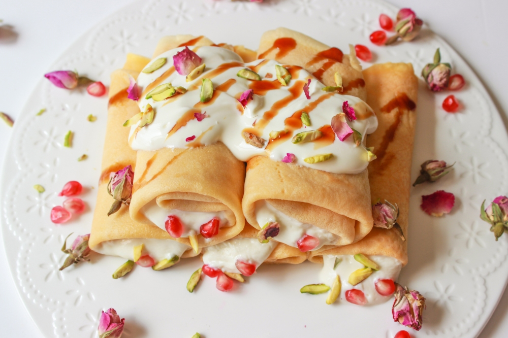 photo of Crepes with rose and honey labneh