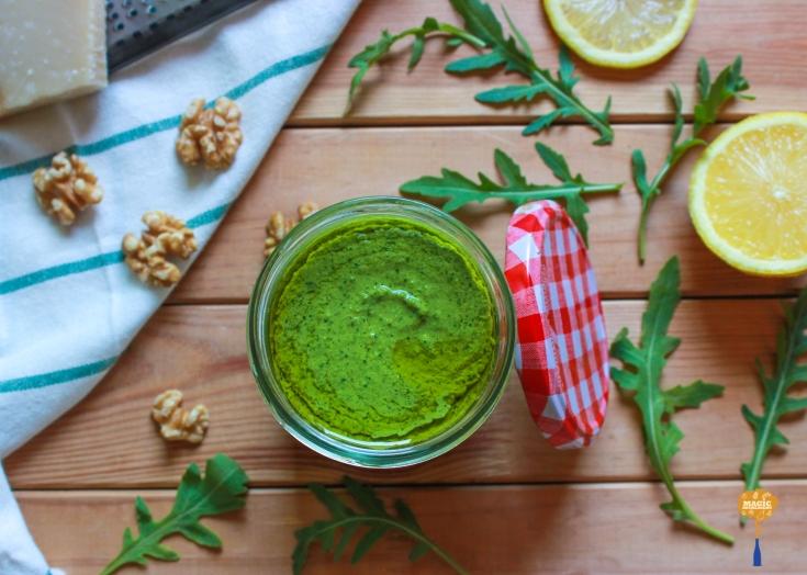 photo of Arugula Walnut and Lemon Pesto