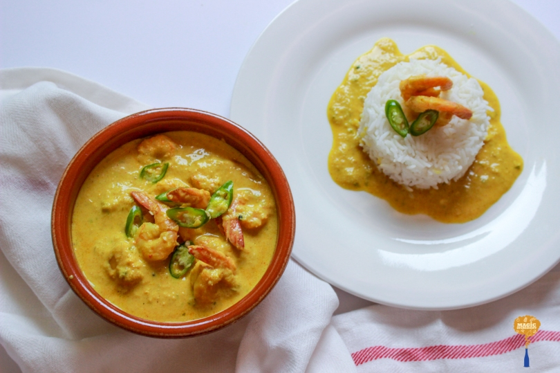 photo of Shrimps in a light coconut gravy served with Basmati Rice