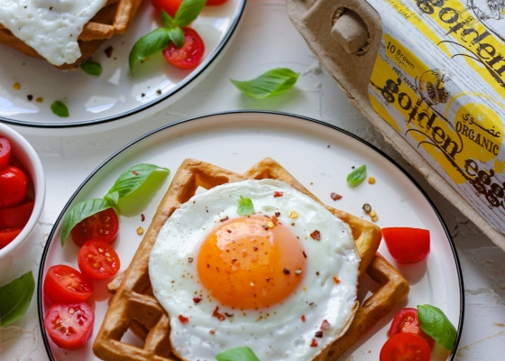 Waffle with Eggs