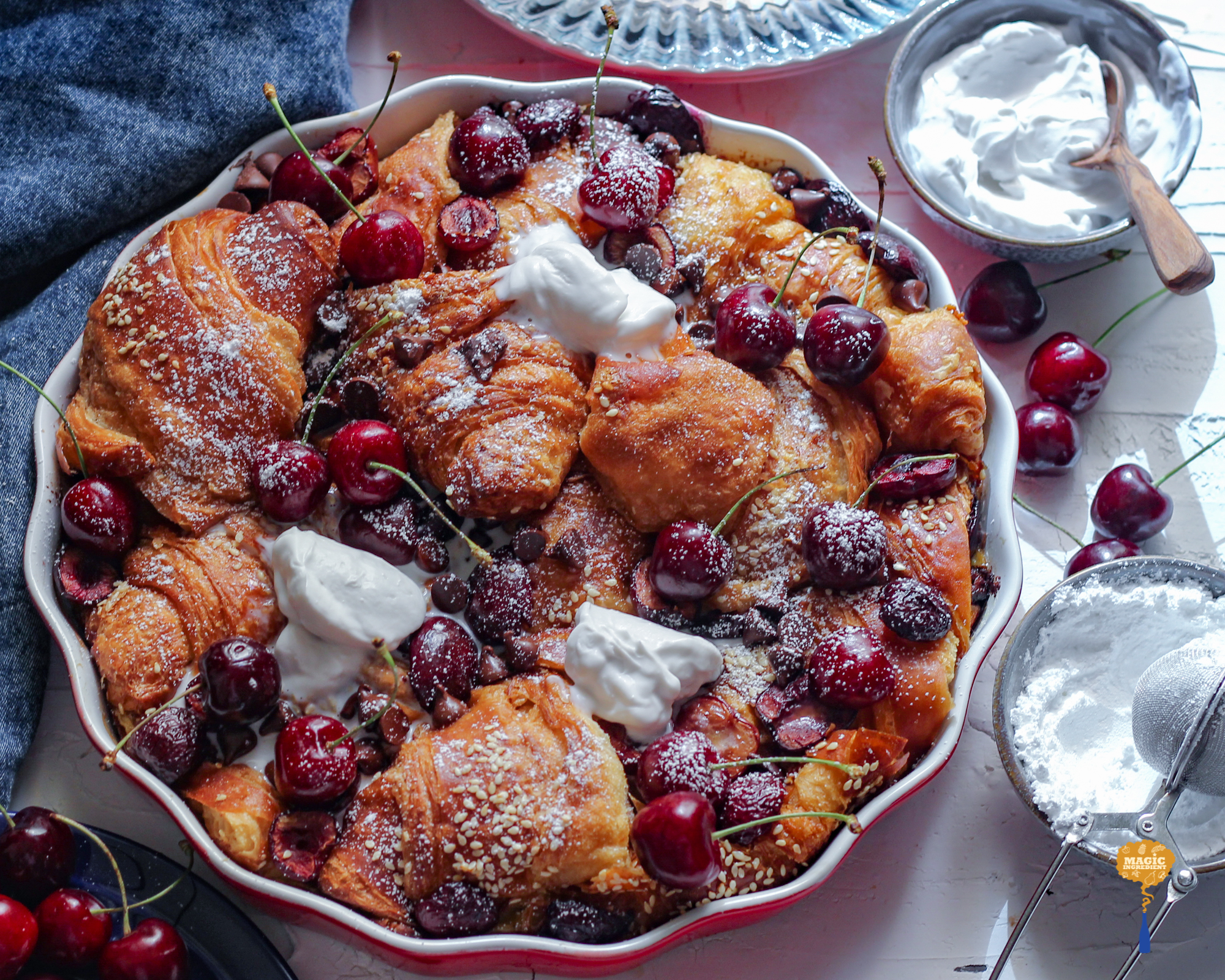 Baked French toast with cherries and chocolate