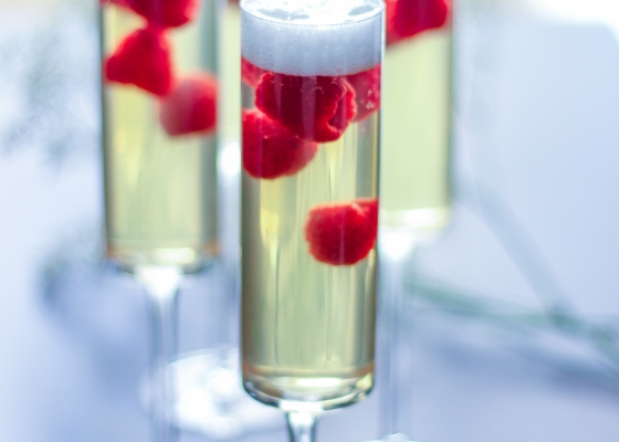 Photo of Champagne jelly with raspberries