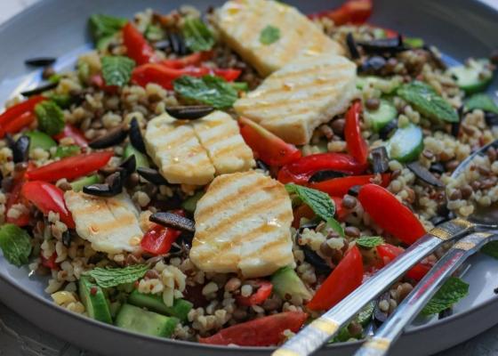 Photo of Lentil Quinoa salad with grilled halloumi