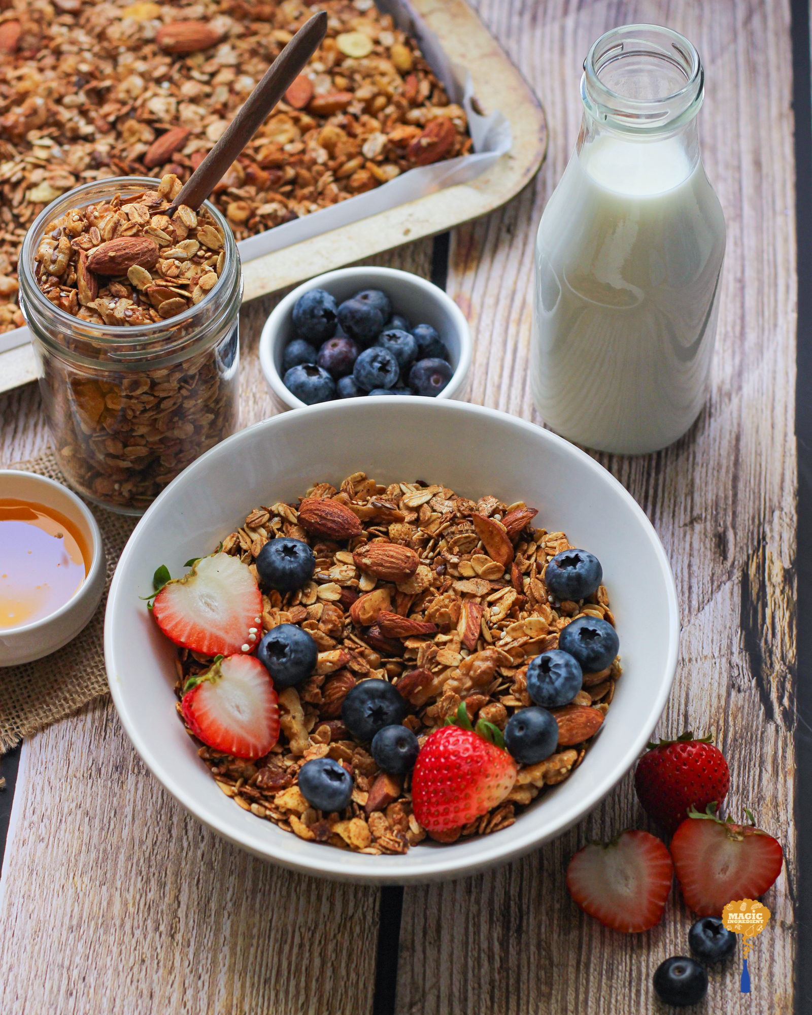 photo of Honey cinnamon granola with quinoa and flaxseeds