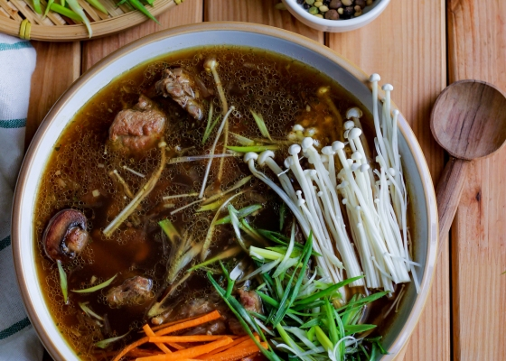 photo of Asian style soup with lamb ribs