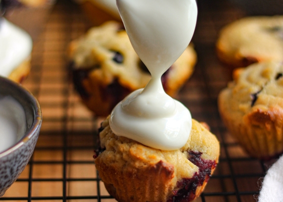 photo of Blueberry wholewheat muffins with greek yogurt frosting