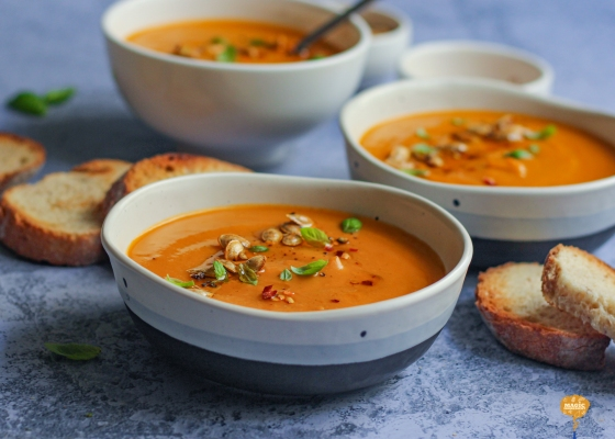 Photo of butternut squash basil coconut soup