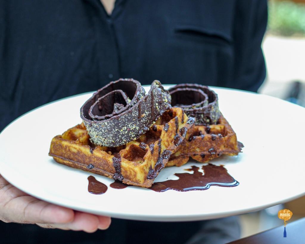 photo of waffles with chocolate swirls