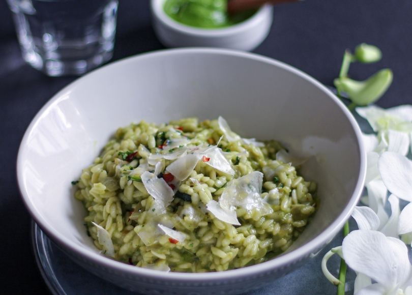 photo of Creamy Spinach Risotto with pesto