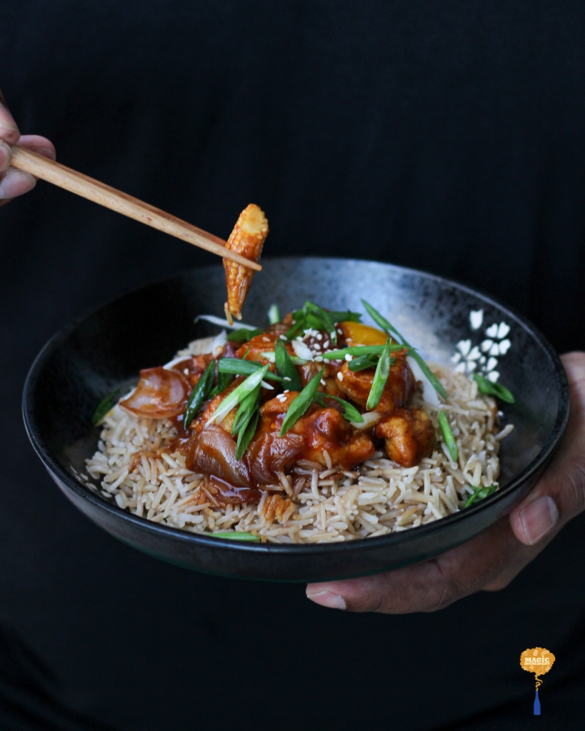 Photo of Asian style Mango chicken with brown rice