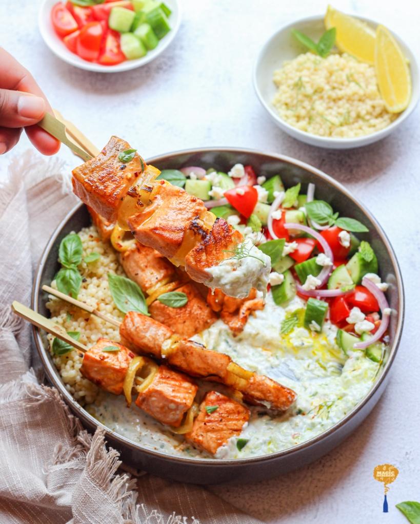 Recipe of Greek style salmon kebabs with Tzatziki sauce