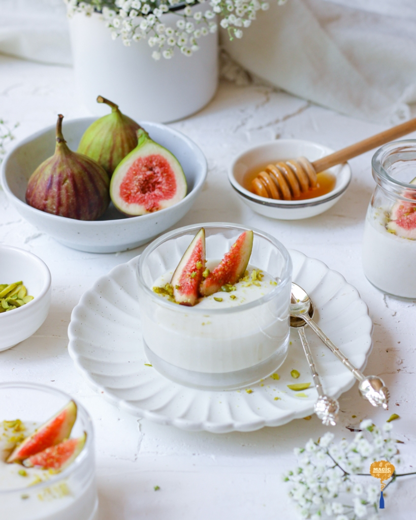 Mahalabia with orange blossom water  and figs