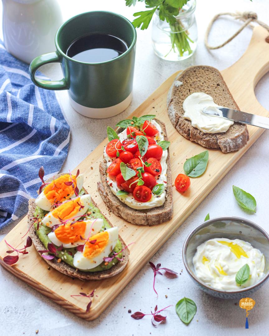 photo of Lebnah Green Humus Toast with microgreens